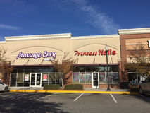 Massage Envy and Princess Nails stores Stock Images