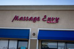 Massage Envy store sign stock photography