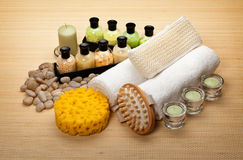 Massage Equipment and bath salt Stock Images