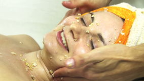 Massage Face Girl in a Beauty Salon stock video footage