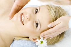 Massage of face for woman in spa Royalty Free Stock Photo