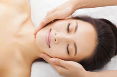 Massage of face for woman in spa. Salon Royalty Free Stock Photo