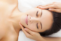 Massage of face for woman in spa. Salon Royalty Free Stock Photos