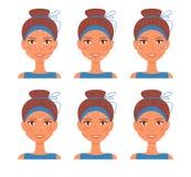 Massage facial Ligne de guide vecteur cartoon Art d'isolement sur le fond blanc illustration libre de droits