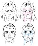 Massage facial massant des lignes pour l'homme et le femme Image libre de droits