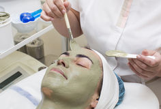 Massage and facial peels. At the salon cosmetics Stock Photo