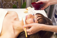 Massage and facial peels. At the salon cosmetics Royalty Free Stock Image