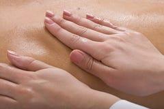 Massage of female back. Spa . stock photo