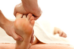 Massage foot female close-up Stock Images