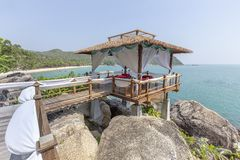 Massage Gazebo Overlooking The Sea. Spa Massage Room On The Beach In Thailand Stock Photography