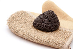 Massage glove with pumice. On white background Stock Image