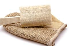 Massage glove with sponge. On white background Royalty Free Stock Photo