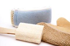 Massage glove with sponge. On white background Royalty Free Stock Photos