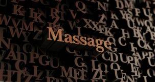 Massage - hölzernes 3D übertrug Buchstaben/Mitteilung Stockfotos