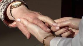 Massage of hands stock footage