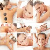 Massage and healing  collection. Royalty Free Stock Images
