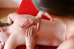 Massage at home. Wellness massage stock photo