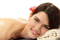 Massage honey attractive teen girl Royalty Free Stock Image