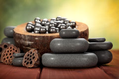 Massage hot stones Stock Photo