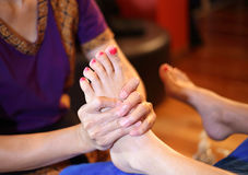 Massage of human foot Royalty Free Stock Photography