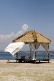 Massage hut on beach. A massage hut on a beautiful Mediterranean beach Royalty Free Stock Photo