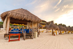 Massage hut on Caribbean Sea Royalty Free Stock Photography