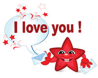 Massage I LOVE YOU!. Red star Royalty Free Stock Images
