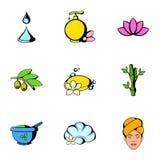 Massage icons set, cartoon style Royalty Free Stock Image