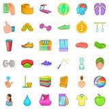 Massage icons set, cartoon style Royalty Free Stock Photos