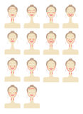 Massage lines on woman face Stock Photo