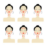 Massage lines on woman face Stock Photography