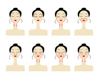 Massage lines on woman face Stock Photos