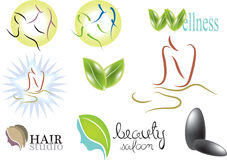 Massage logo. Color illustration: massage logo set. vector Stock Photos
