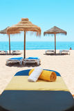 Massage lounger on the background of the sea. Stock Image