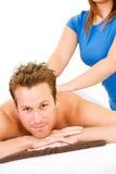 Massage: Mann erhält Rückenmassage Lizenzfreies Stockfoto