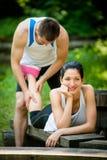 Massage, når att ha joggat för sport arkivfoton