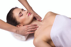 Massage for neck  young woman Royalty Free Stock Images