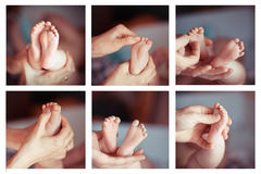 massage Newborn baby feet collage Royalty Free Stock Photos