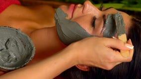 Massage och ansikts- maskering i brunnsortsalong långsam rörelse lager videofilmer