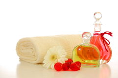 Massage oil. Bottle with massage oil isolated on white background stock images