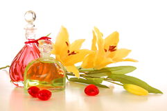 Massage oil. Bottle with massage oil isolated on white background stock photography