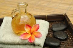 Massage oil. In the spa royalty free stock photos