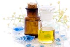 Massage Oil. With bath salt stock photos