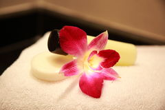 Massage oil. Soap and towel in a 5 star wellness resort Royalty Free Stock Image