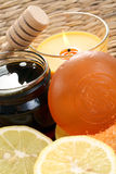 Massage oil. Lavender massage oil - beauty treatment royalty free stock image