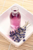 Massage oil. Lavender massage oil - beauty treatment royalty free stock photography