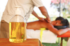 Massage oil bottle. Massage oil for theraphy at beach resort stock photography