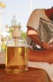 Massage oil bottle stock photo