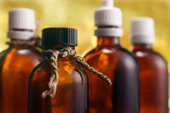 Massage oil bottles Royalty Free Stock Photos