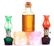 Massage oil and candles Royalty Free Stock Images